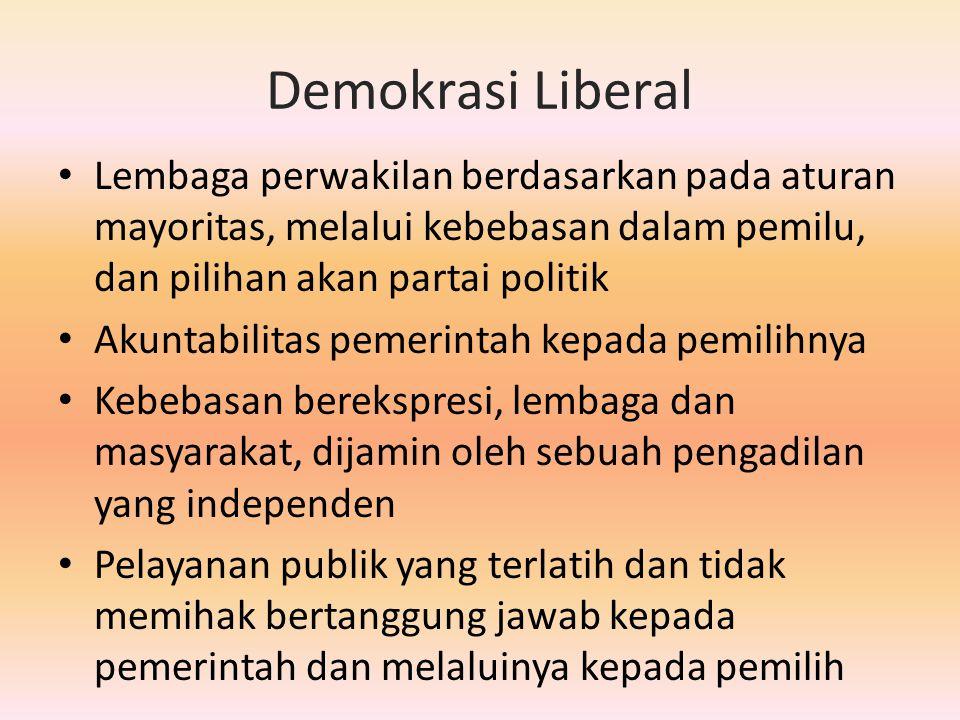 Demokrasi Liberal Lembaga perwakilan berdasarkan pada aturan mayoritas, melalui kebebasan dalam pemilu, dan pilihan akan partai politik Akuntabilitas