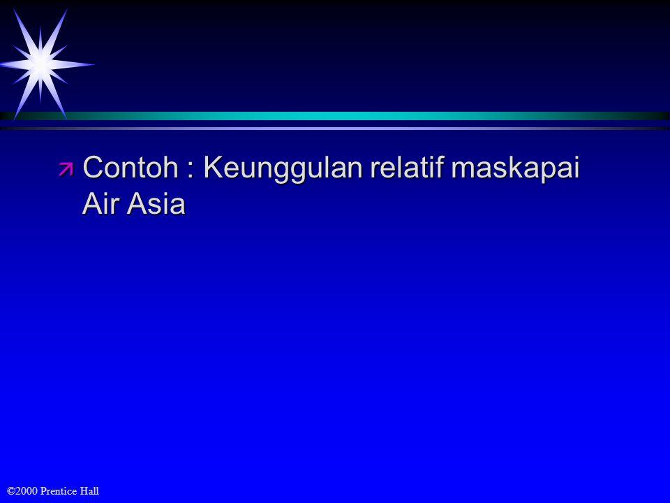©2000 Prentice Hall ä Contoh : Keunggulan relatif maskapai Air Asia