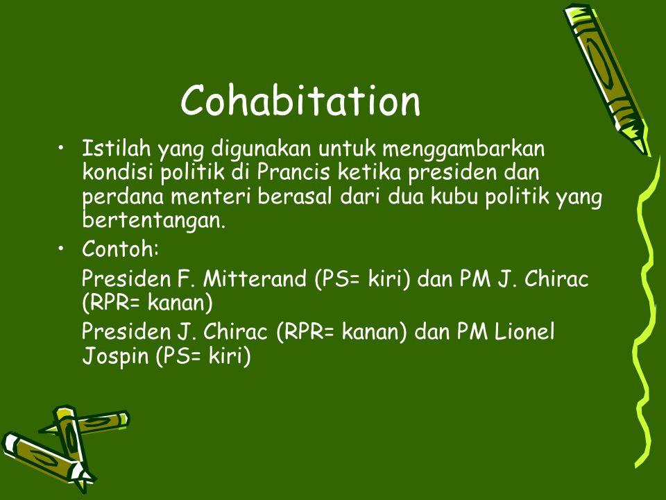 Cohabitation Istilah yang digunakan untuk menggambarkan kondisi politik di Prancis ketika presiden dan perdana menteri berasal dari dua kubu politik y
