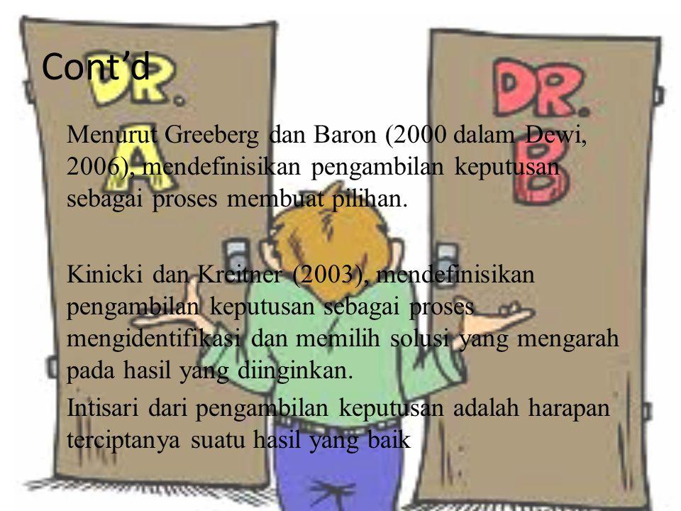 Cont'd Menurut Greeberg dan Baron (2000 dalam Dewi, 2006), mendefinisikan pengambilan keputusan sebagai proses membuat pilihan. Kinicki dan Kreitner (