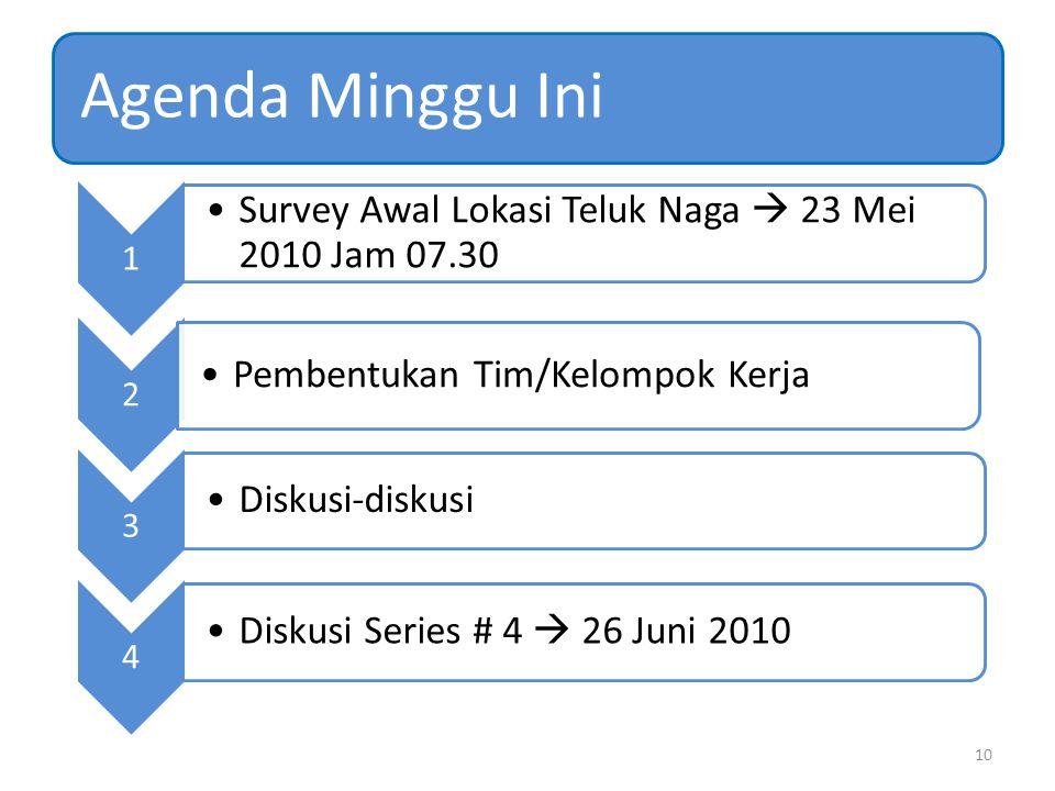 Agenda Minggu Ini 1 Survey Awal Lokasi Teluk Naga  23 Mei 2010 Jam 07.30 2 Pembentukan Tim/Kelompok Kerja 3 Diskusi-diskusi 4 Diskusi Series # 4  26