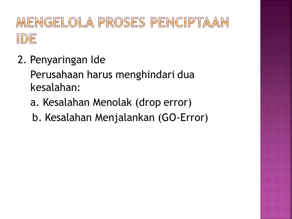 2. Penyaringan Ide Perusahaan harus menghindari dua kesalahan: a. Kesalahan Menolak (drop error) b. Kesalahan Menjalankan (GO-Error)