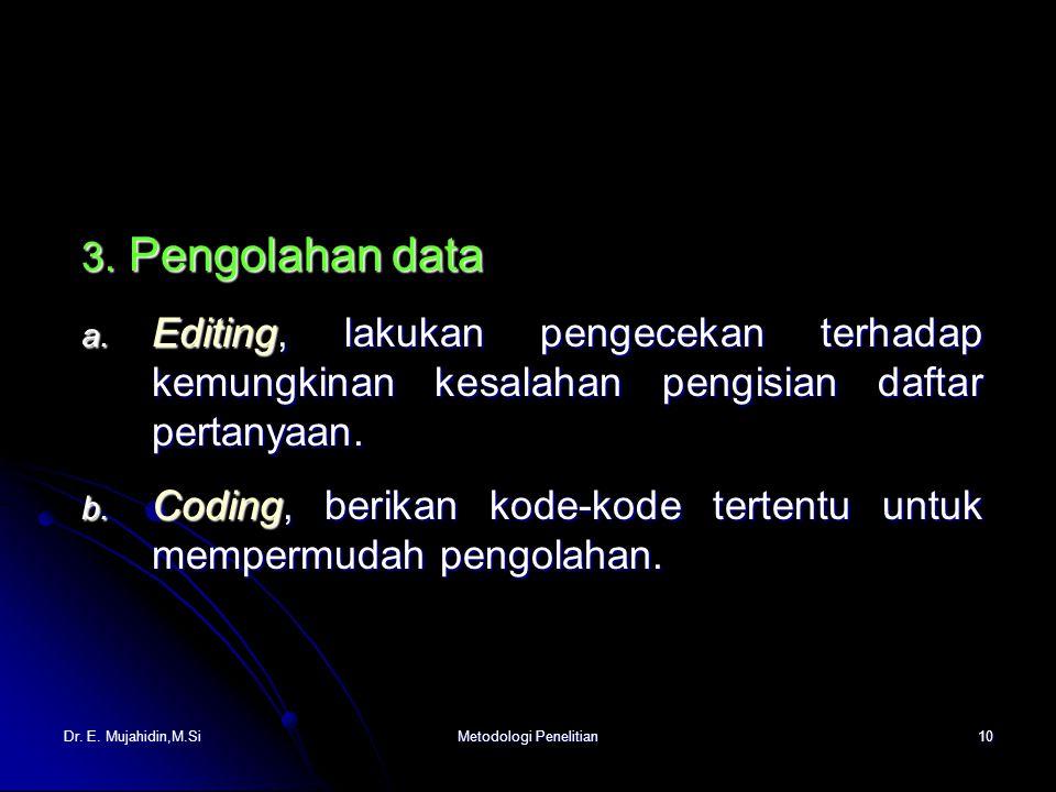 Dr. E. Mujahidin,M.SiMetodologi Penelitian10 3. Pengolahan data a.