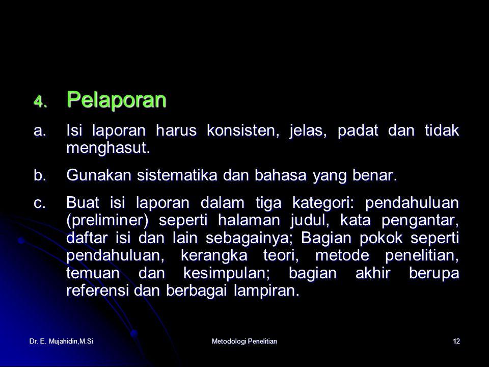 Dr. E. Mujahidin,M.SiMetodologi Penelitian12 4.
