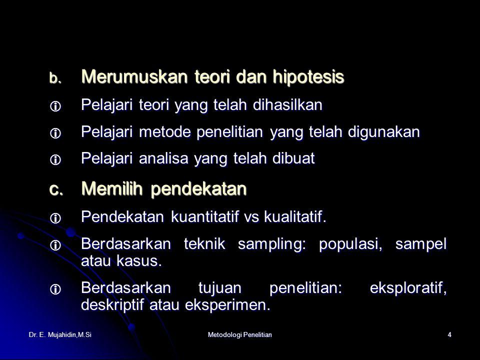 Dr. E. Mujahidin,M.SiMetodologi Penelitian4 b.