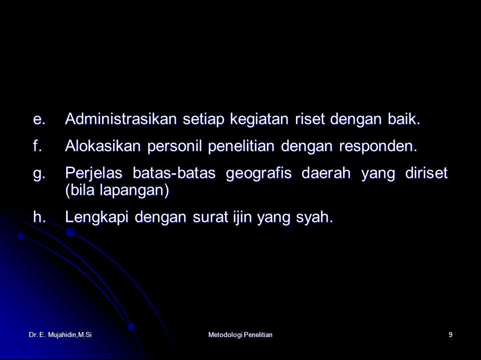 Dr. E. Mujahidin,M.SiMetodologi Penelitian9 e.Administrasikan setiap kegiatan riset dengan baik.