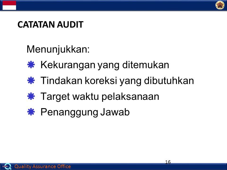 Quality Assurance Office 16 CATATAN AUDIT Menunjukkan:  Kekurangan yang ditemukan  Tindakan koreksi yang dibutuhkan  Target waktu pelaksanaan  Pen