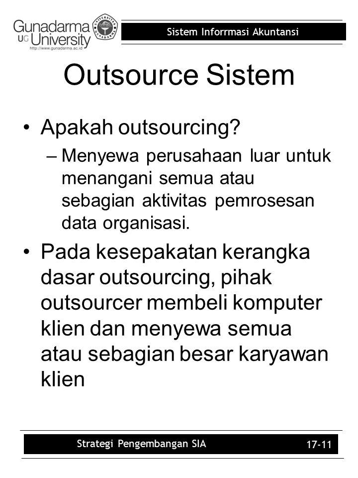 Sistem Inforrmasi Akuntansi 17-11 Outsource Sistem Apakah outsourcing? –Menyewa perusahaan luar untuk menangani semua atau sebagian aktivitas pemroses