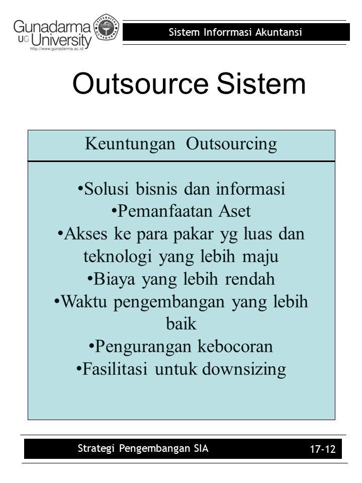 Sistem Inforrmasi Akuntansi 17-12 Keuntungan Outsourcing Solusi bisnis dan informasi Pemanfaatan Aset Akses ke para pakar yg luas dan teknologi yang l