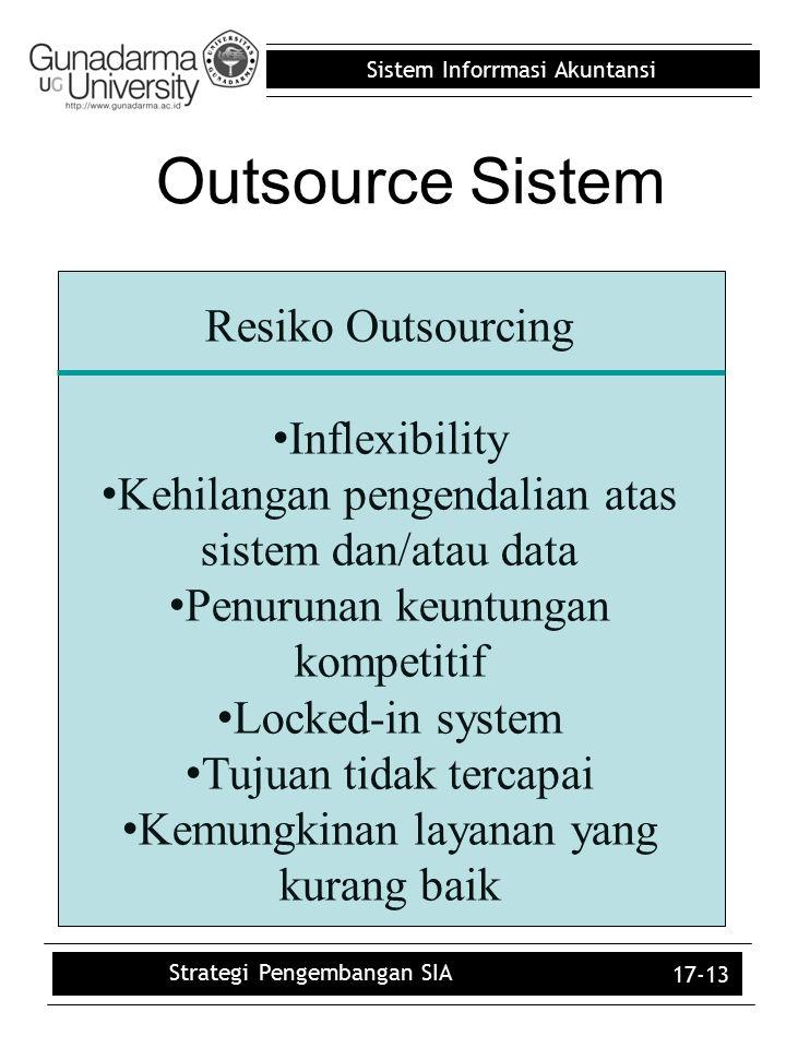 Sistem Inforrmasi Akuntansi 17-13 Resiko Outsourcing Inflexibility Kehilangan pengendalian atas sistem dan/atau data Penurunan keuntungan kompetitif L