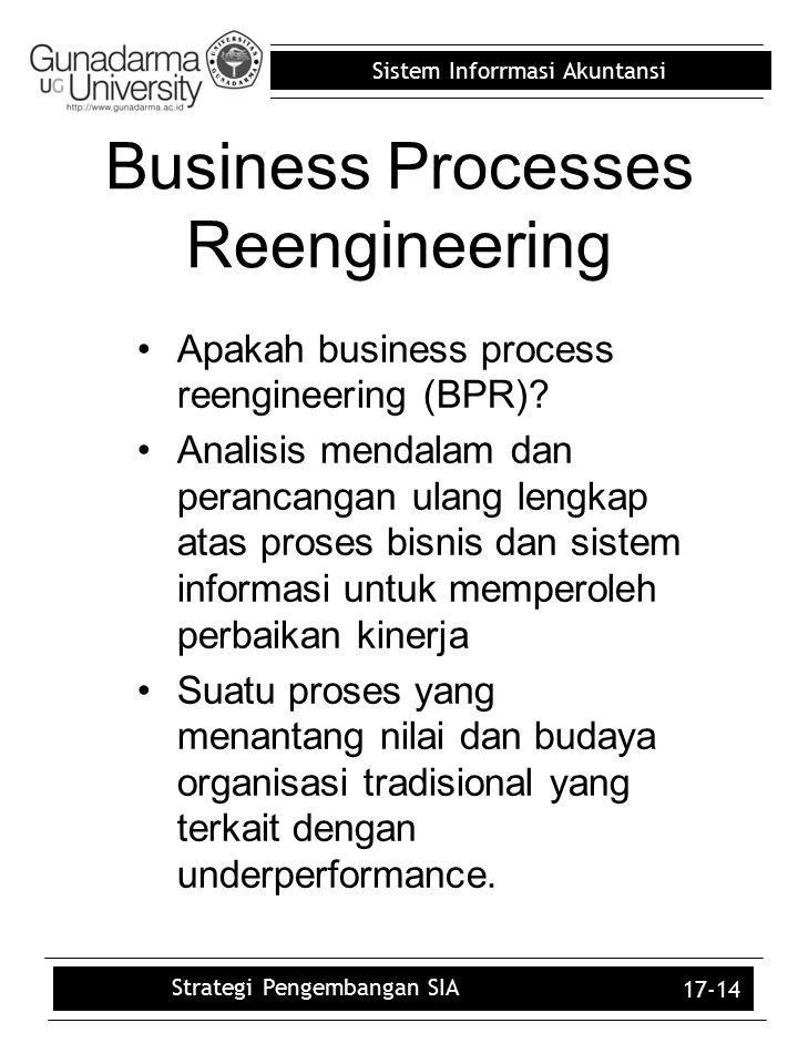 Sistem Inforrmasi Akuntansi 17-14 Business Processes Reengineering Apakah business process reengineering (BPR)? Analisis mendalam dan perancangan ulan
