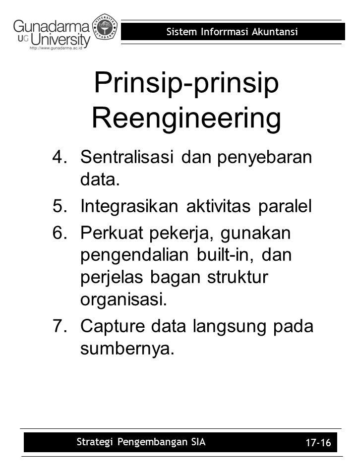 Sistem Inforrmasi Akuntansi 17-16 4.Sentralisasi dan penyebaran data. 5.Integrasikan aktivitas paralel 6.Perkuat pekerja, gunakan pengendalian built-i