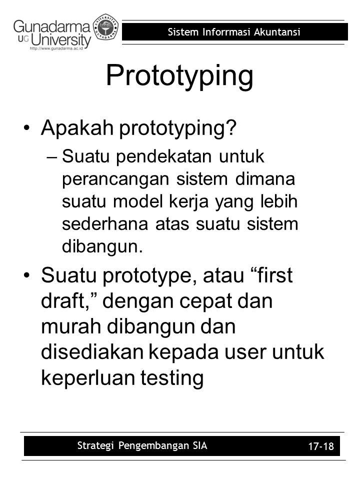 Sistem Inforrmasi Akuntansi 17-18 Prototyping Apakah prototyping? –Suatu pendekatan untuk perancangan sistem dimana suatu model kerja yang lebih seder
