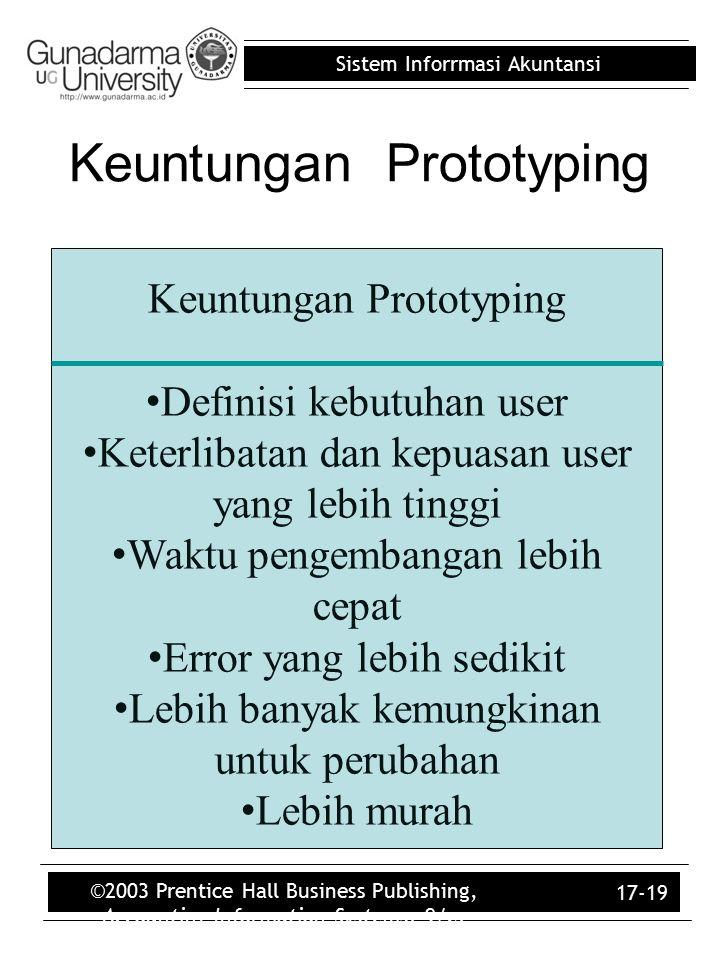 Sistem Inforrmasi Akuntansi ©2003 Prentice Hall Business Publishing, Accounting Information Systems, 9/e, Romney/Steinbart 17-19 Keuntungan Prototypin