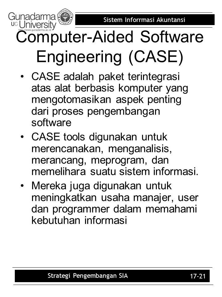 Sistem Inforrmasi Akuntansi 17-21 Computer-Aided Software Engineering (CASE) CASE adalah paket terintegrasi atas alat berbasis komputer yang mengotoma