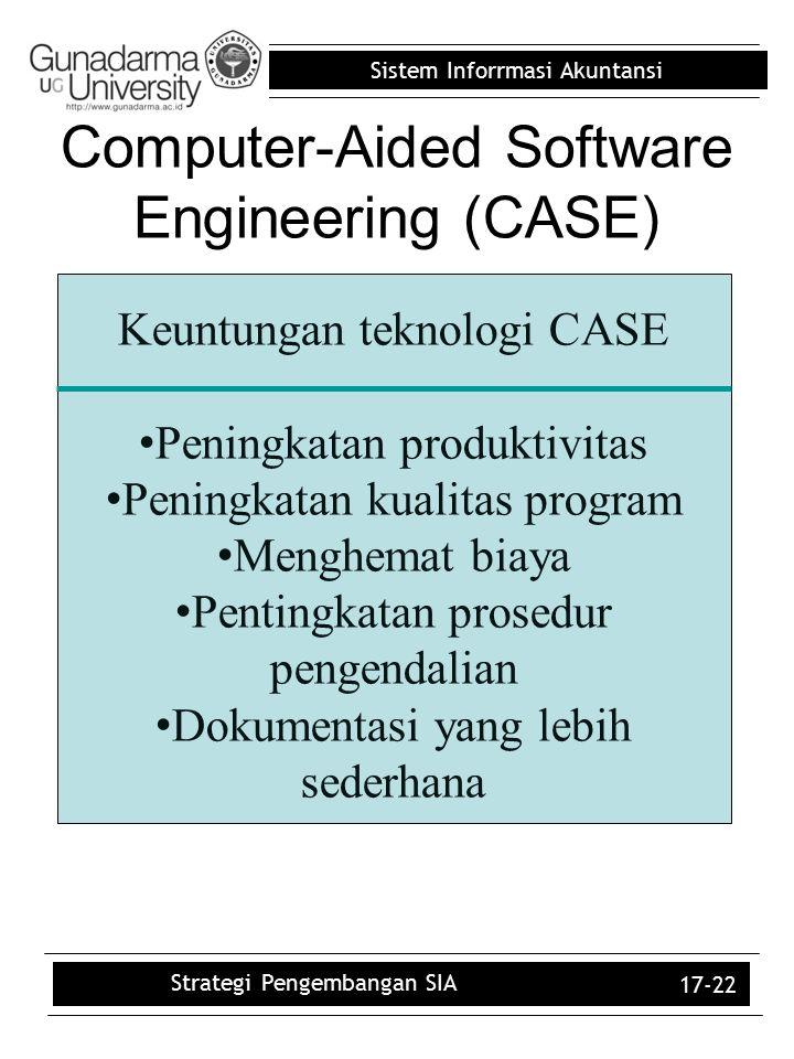 Sistem Inforrmasi Akuntansi 17-22 Computer-Aided Software Engineering (CASE) Keuntungan teknologi CASE Peningkatan produktivitas Peningkatan kualitas