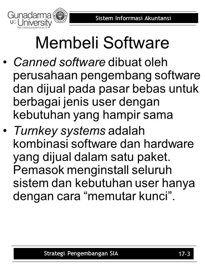 Sistem Inforrmasi Akuntansi 17-4 Pembelian Software dan SDLC Perusahaan yang membeli daripada membangun software SIA masih harus melalui systems development life cycle (SDLC).