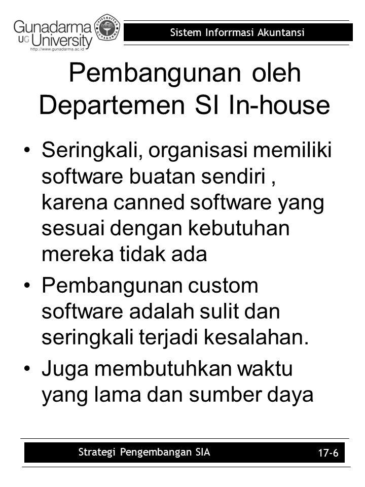 Sistem Inforrmasi Akuntansi 17-6 Pembangunan oleh Departemen SI In-house Seringkali, organisasi memiliki software buatan sendiri, karena canned softwa