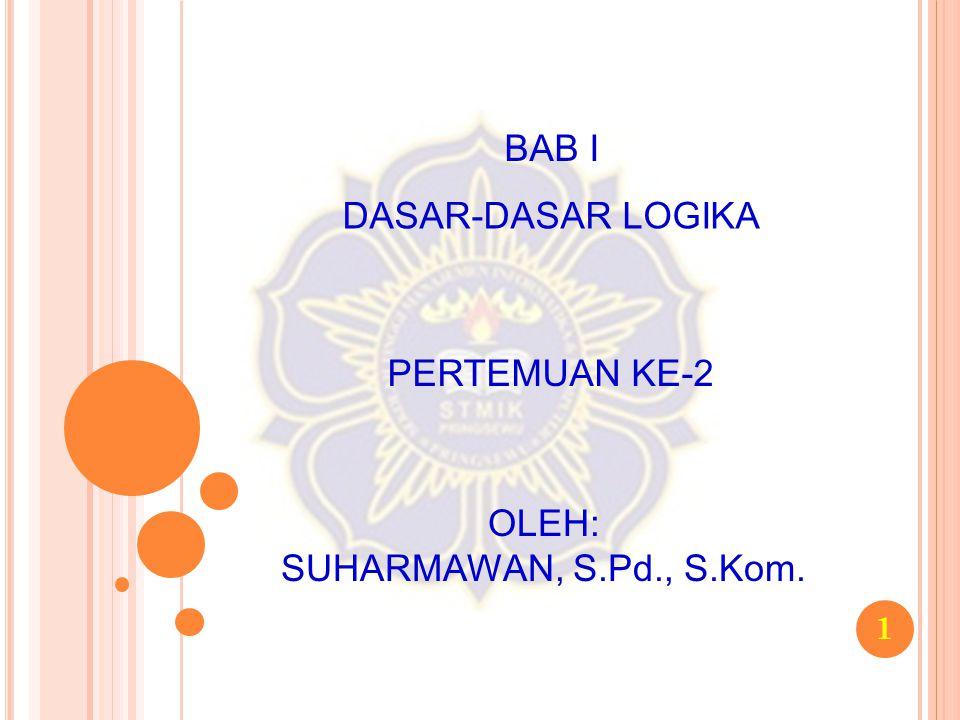1 BAB I DASAR-DASAR LOGIKA PERTEMUAN KE-2 OLEH: SUHARMAWAN, S.Pd., S.Kom.