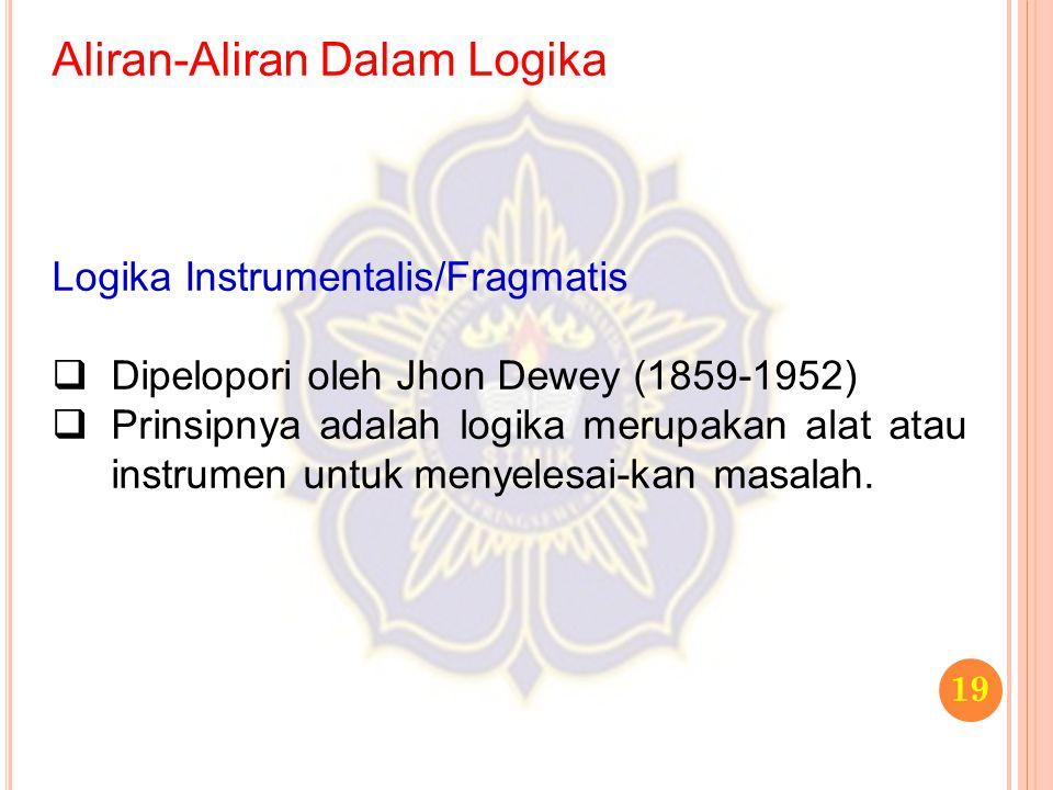 Aliran-Aliran Dalam Logika 19 Logika Instrumentalis/Fragmatis  Dipelopori oleh Jhon Dewey (1859-1952)  Prinsipnya adalah logika merupakan alat atau