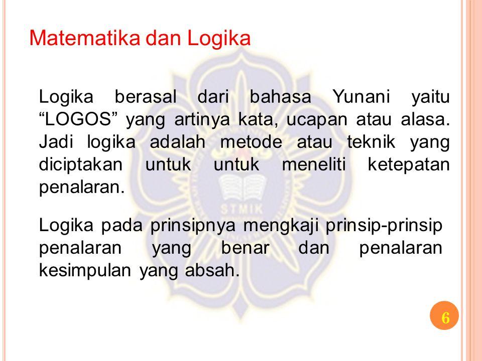"""Matematika dan Logika 6 Logika berasal dari bahasa Yunani yaitu """"LOGOS"""" yang artinya kata, ucapan atau alasa. Jadi logika adalah metode atau teknik ya"""