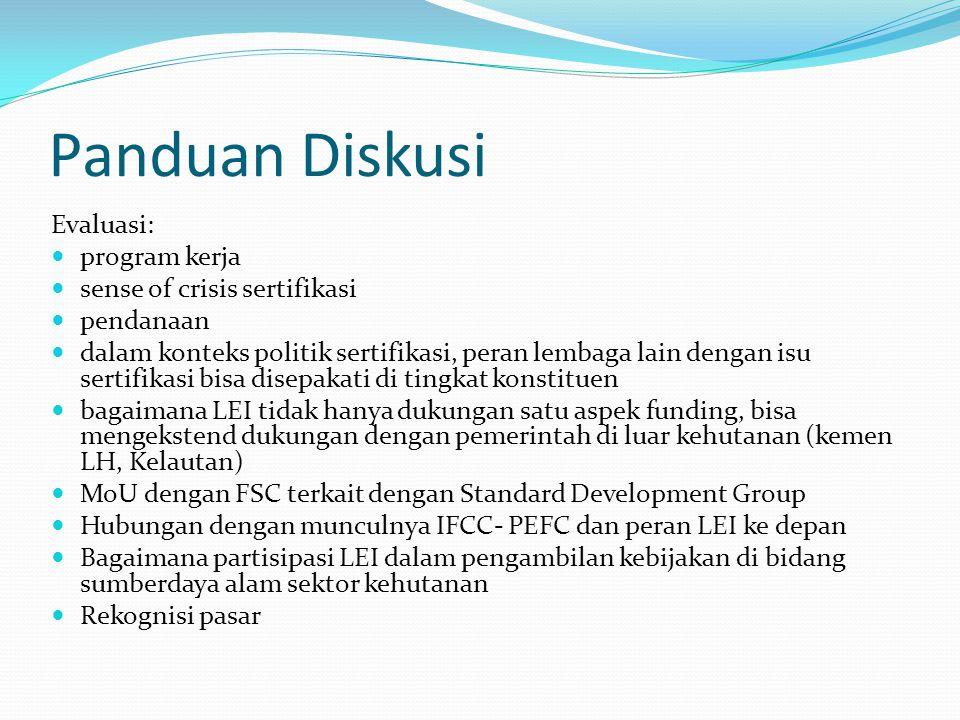 Panduan Diskusi Evaluasi: program kerja sense of crisis sertifikasi pendanaan dalam konteks politik sertifikasi, peran lembaga lain dengan isu sertifi