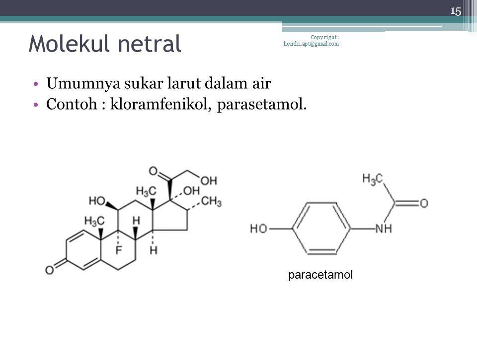 Molekul netral Umumnya sukar larut dalam air Contoh : kloramfenikol, parasetamol. 15 Copy right : hendri.apt@gmail.com paracetamol