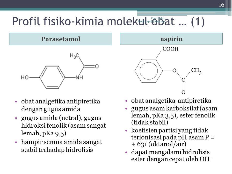 Profil fisiko-kimia molekul obat … (1) Parasetamol aspirin obat analgetika antipiretika dengan gugus amida gugus amida (netral), gugus hidroksi fenoli