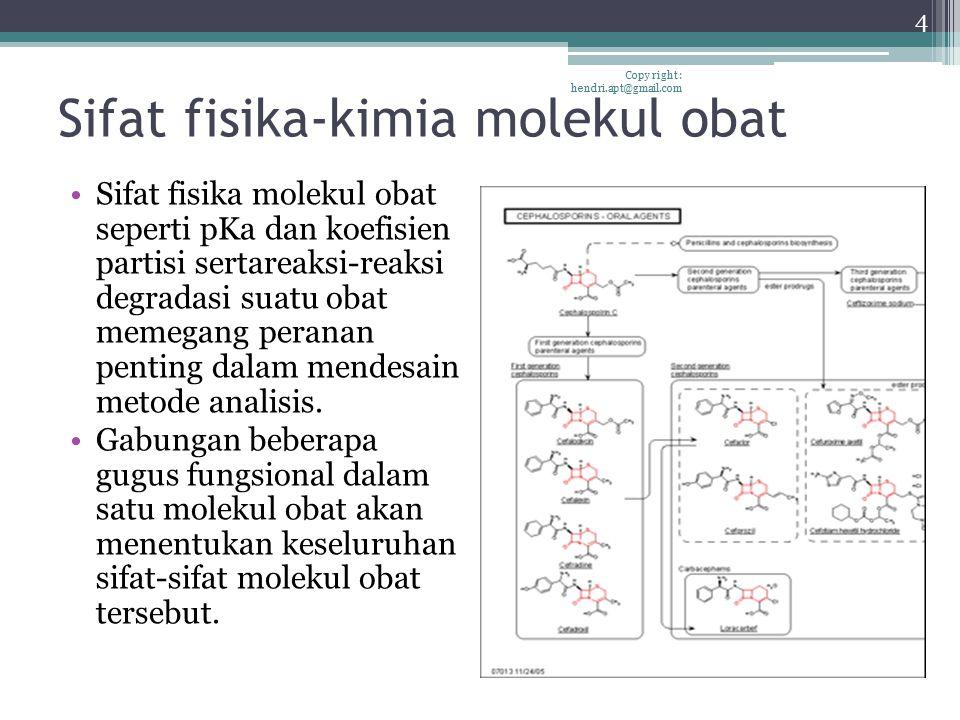 Sifat fisika-kimia molekul obat Sifat fisika molekul obat seperti pKa dan koefisien partisi sertareaksi-reaksi degradasi suatu obat memegang peranan p