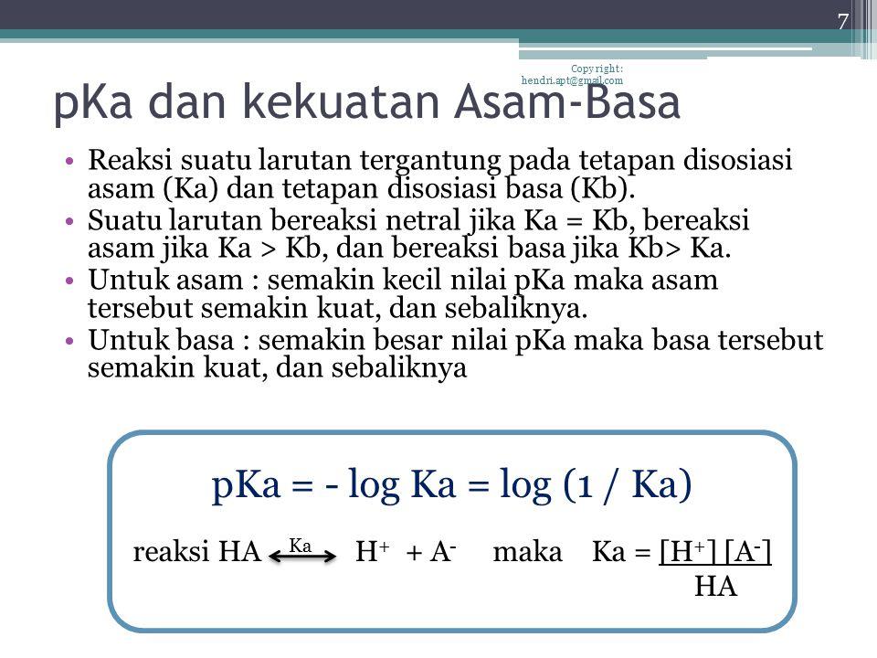 pKa dan kekuatan Asam-Basa Reaksi suatu larutan tergantung pada tetapan disosiasi asam (Ka) dan tetapan disosiasi basa (Kb). Suatu larutan bereaksi ne