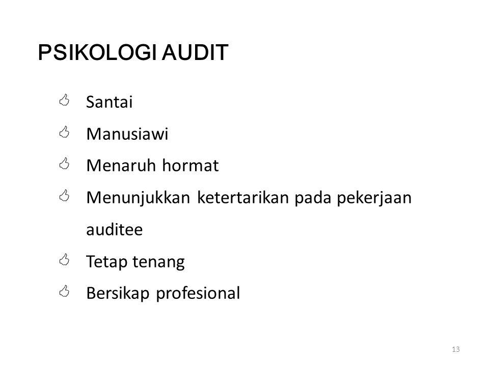13  Santai  Manusiawi  Menaruh hormat  Menunjukkan ketertarikan pada pekerjaan auditee  Tetap tenang  Bersikap profesional PSIKOLOGI AUDIT