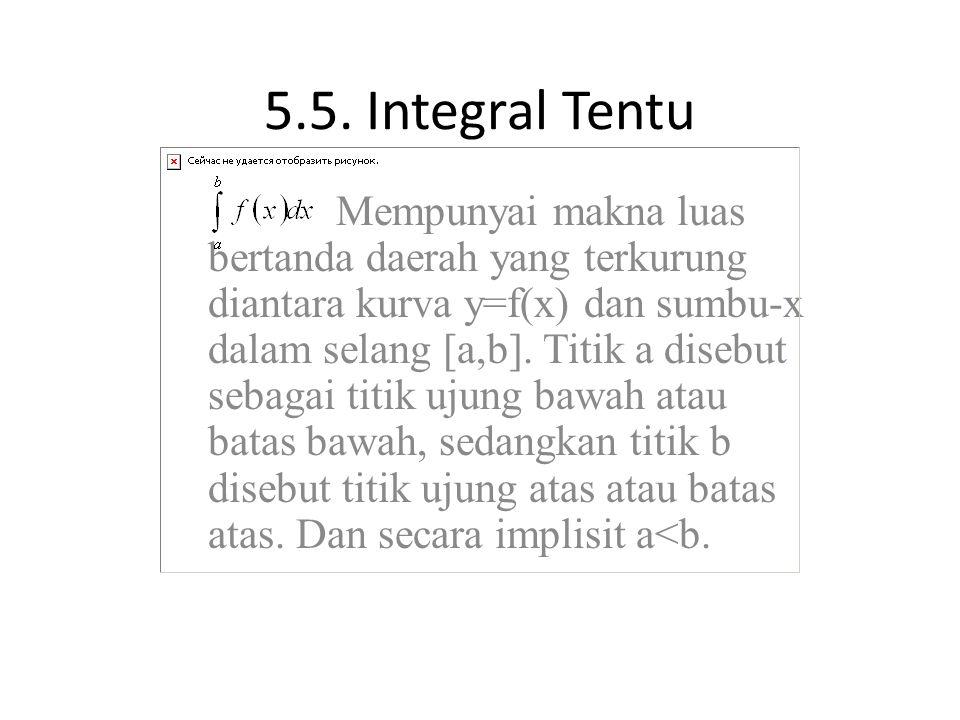 5.5. Integral Tentu Mempunyai makna luas bertanda daerah yang terkurung diantara kurva y=f(x) dan sumbu-x dalam selang [a,b]. Titik a disebut sebagai