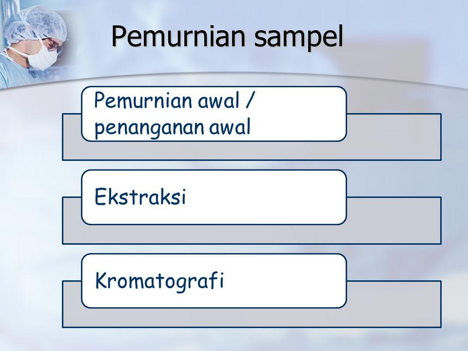 Pemurnian sampel Pemurnian awal / penanganan awal EkstraksiKromatografi