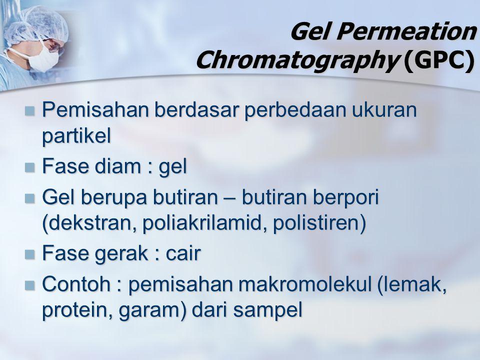 Gel Permeation Chromatography (GPC) Pemisahan berdasar perbedaan ukuran partikel Pemisahan berdasar perbedaan ukuran partikel Fase diam : gel Fase dia