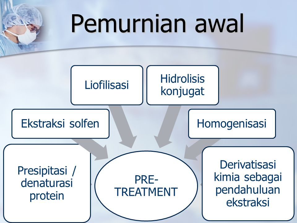 Pemurnian awal PRE- TREATMENT Presipitasi / denaturasi protein Ekstraksi solfen Liofilisasi Hidrolisis konjugat Homogenisasi Derivatisasi kimia sebaga