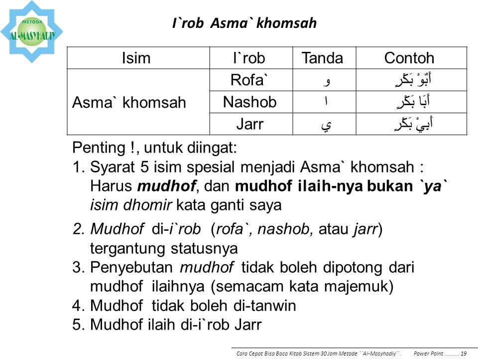 I`rob Asma` khomsah IsimI`robTandaContoh Asma` khomsah Rofa` وأَبٌوْ بَكْرٍ Nashob اأَبَا بَكْرٍ Jarr يأَبِيْ بَكْرٍ Penting !, untuk diingat: 1.Syara