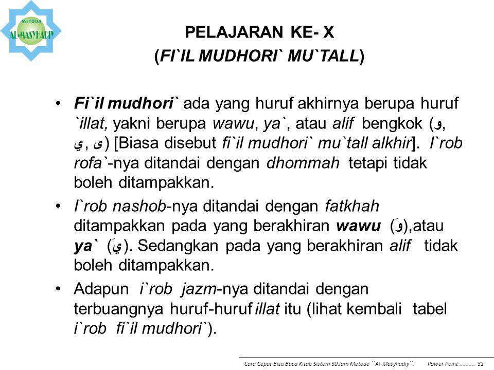 PELAJARAN KE- X (FI`IL MUDHORI` MU`TALL) Fi`il mudhori` ada yang huruf akhirnya berupa huruf `illat, yakni berupa wawu, ya`, atau alif bengkok (و, ي,