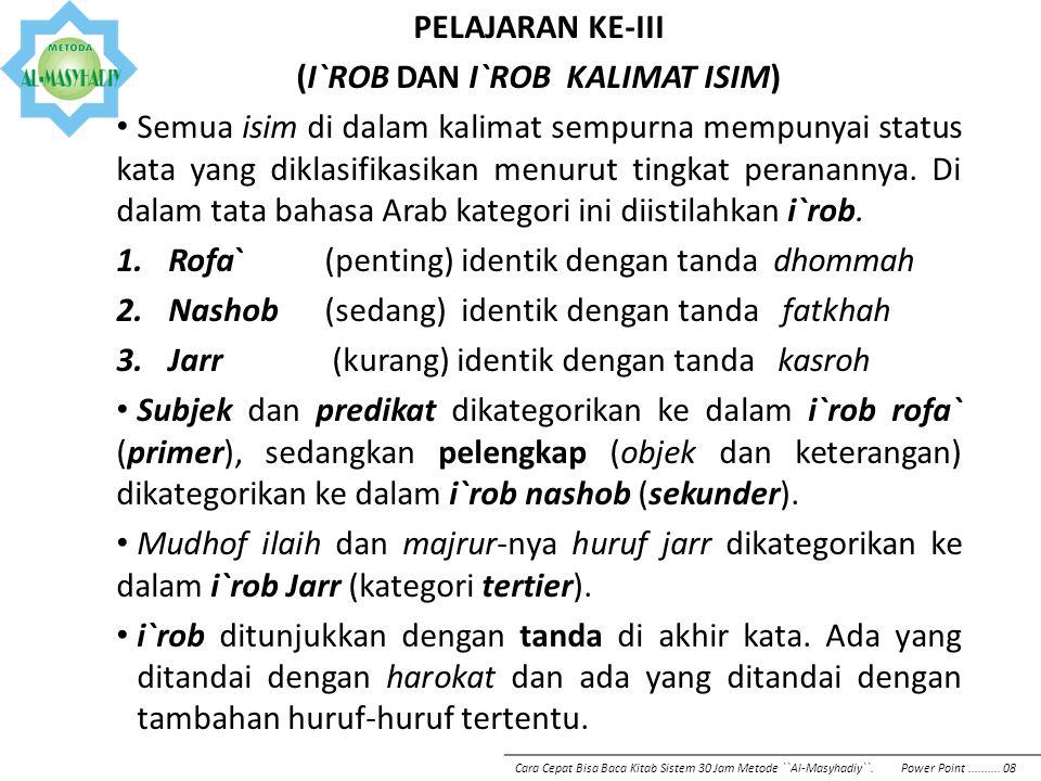 I`rob Asma` khomsah IsimI`robTandaContoh Asma` khomsah Rofa` وأَبٌوْ بَكْرٍ Nashob اأَبَا بَكْرٍ Jarr يأَبِيْ بَكْرٍ Penting !, untuk diingat: 1.Syarat 5 isim spesial menjadi Asma` khomsah : Harus mudhof, dan mudhof ilaih-nya bukan `ya` isim dhomir kata ganti saya 2.Mudhof di-i`rob (rofa`, nashob, atau jarr) tergantung statusnya 3.Penyebutan mudhof tidak boleh dipotong dari mudhof ilaihnya (semacam kata majemuk) 4.Mudhof tidak boleh di-tanwin 5.Mudhof ilaih di-i`rob Jarr Cara Cepat Bisa Baca Kitab Sistem 30 Jam Metode ``Al-Masyhadiy``.