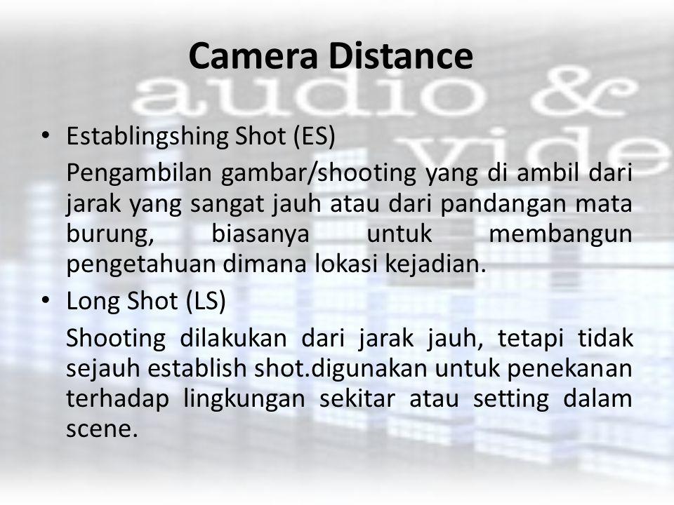 Camera Distance Establingshing Shot (ES) Pengambilan gambar/shooting yang di ambil dari jarak yang sangat jauh atau dari pandangan mata burung, biasan