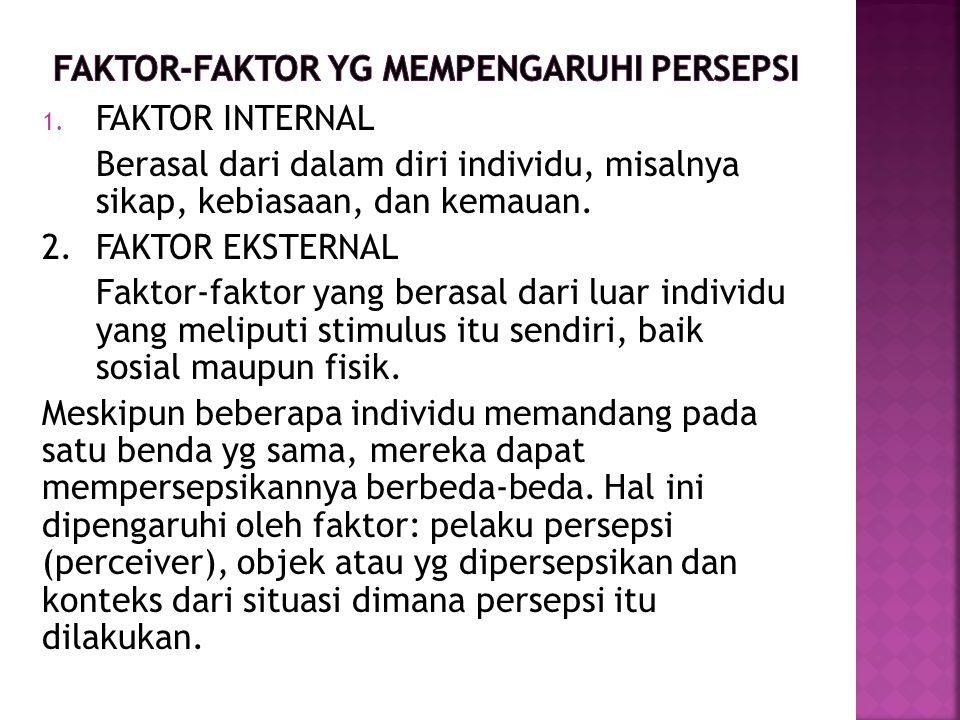 1. FAKTOR INTERNAL Berasal dari dalam diri individu, misalnya sikap, kebiasaan, dan kemauan. 2. FAKTOR EKSTERNAL Faktor-faktor yang berasal dari luar