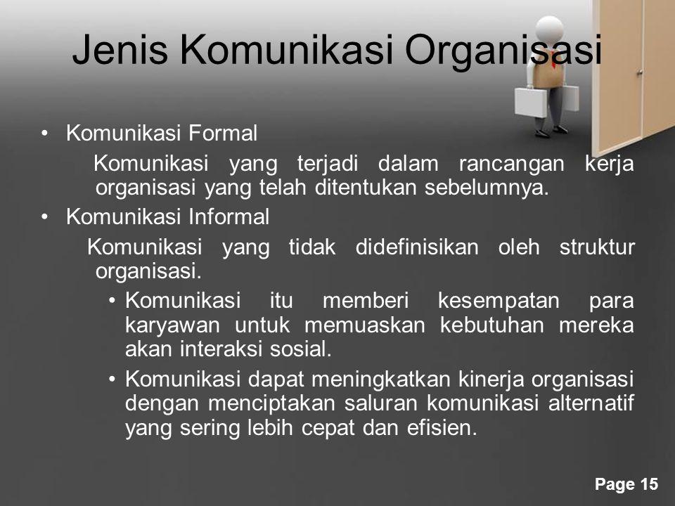 Page 15 Jenis Komunikasi Organisasi Komunikasi Formal Komunikasi yang terjadi dalam rancangan kerja organisasi yang telah ditentukan sebelumnya. Komun