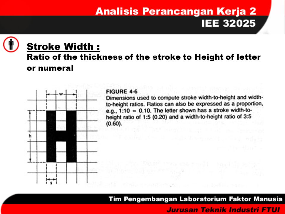 Stroke Width : Ratio of the thickness of the stroke to Height of letter or numeral