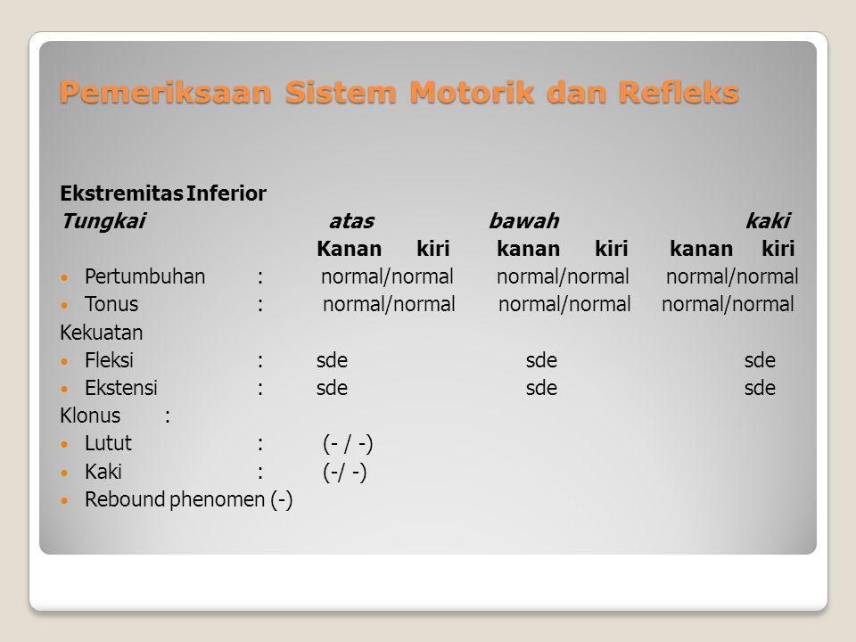 Pemeriksaan Sistem Motorik dan Refleks Ekstremitas Inferior Tungkai atas bawahkaki Kanan kiri kanan kiri kanan kiri Pertumbuhan : normal/normal normal/normal normal/normal Tonus : normal/normal normal/normal normal/normal Kekuatan Fleksi : sde sdesde Ekstensi :sde sdesde Klonus : Lutut : (- / -) Kaki : (-/ -) Rebound phenomen (-)