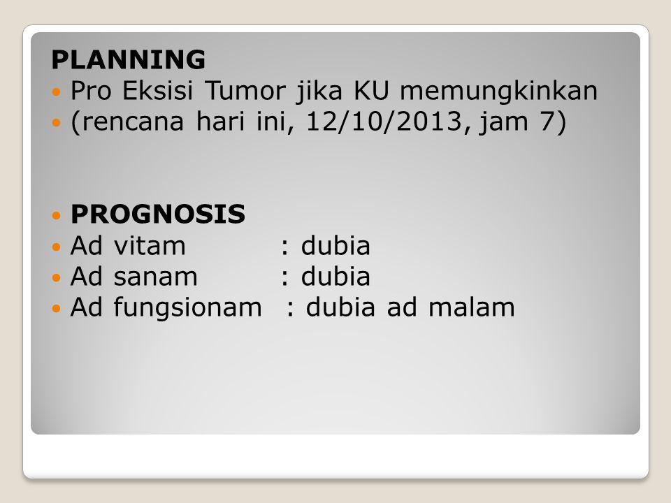 PLANNING Pro Eksisi Tumor jika KU memungkinkan (rencana hari ini, 12/10/2013, jam 7) PROGNOSIS Ad vitam : dubia Ad sanam : dubia Ad fungsionam : dubia ad malam