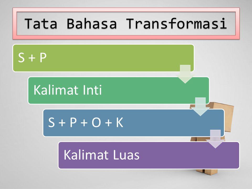 Tata Bahasa Transformasi S + PKalimat IntiS + P + O + KKalimat Luas