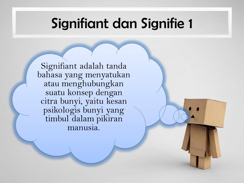 Signifiant dan Signifie 1 Signifiant adalah tanda bahasa yang menyatukan atau menghubungkan suatu konsep dengan citra bunyi, yaitu kesan psikologis bunyi yang timbul dalam pikiran manusia.