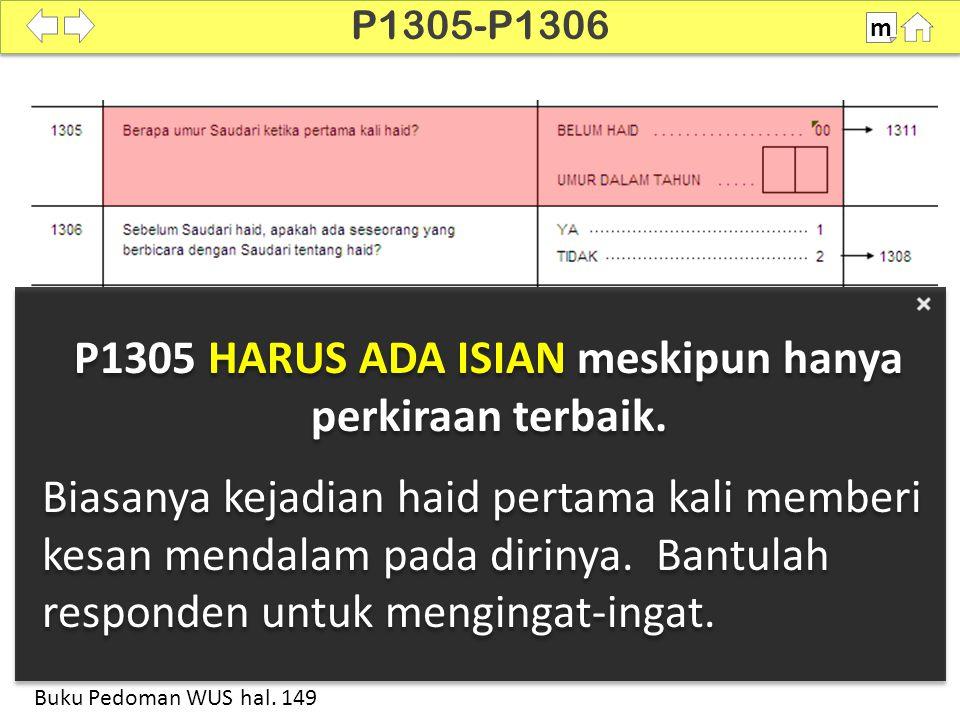 P1305 HARUS ADA ISIAN meskipun hanya perkiraan terbaik.