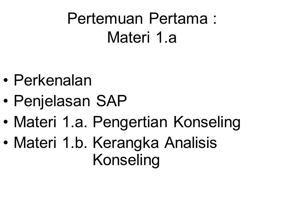 Pertemuan Pertama : Materi 1.a Perkenalan Penjelasan SAP Materi 1.a. Pengertian Konseling Materi 1.b. Kerangka Analisis Konseling