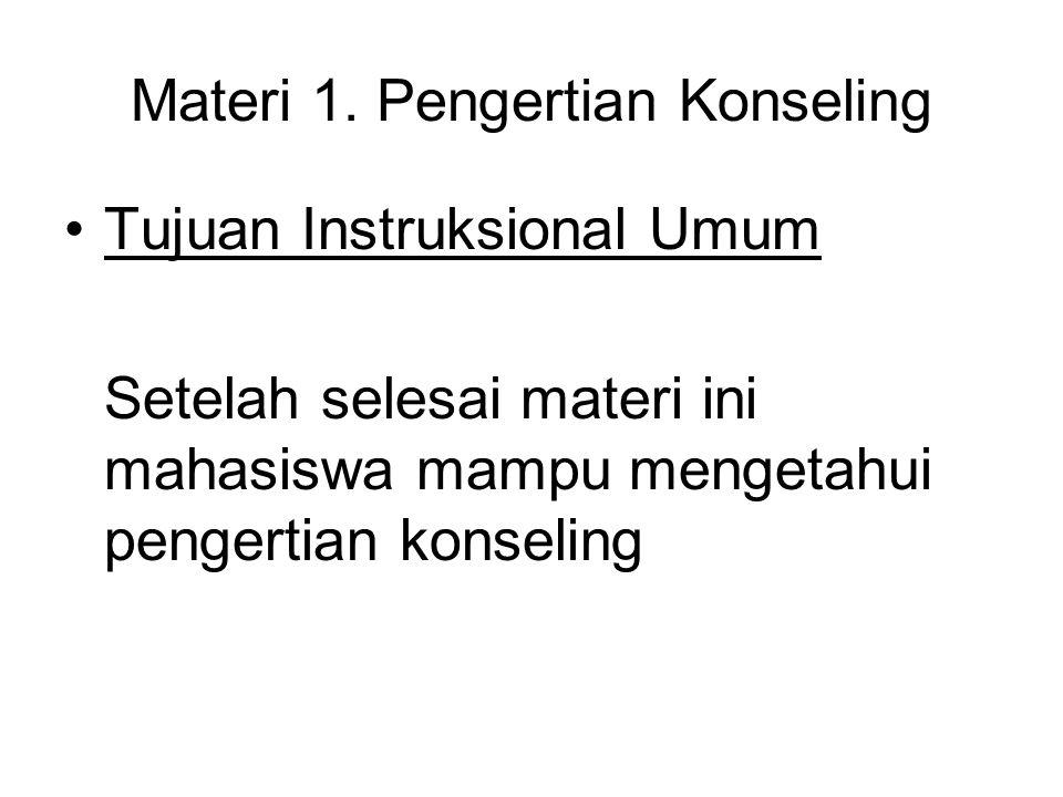 Materi 1. Pengertian Konseling Tujuan Instruksional Umum Setelah selesai materi ini mahasiswa mampu mengetahui pengertian konseling