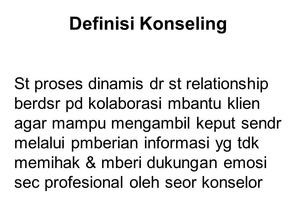 Definisi Konseling St proses dinamis dr st relationship berdsr pd kolaborasi mbantu klien agar mampu mengambil keput sendr melalui pmberian informasi